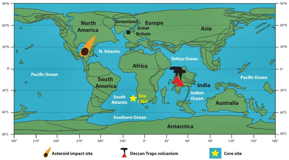 Palaeogeographic reconstruction of the Earth around the time of the K/Pg mass extinction.